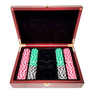 200ct Mahagony Custom Poker Chips Set