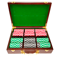 300ct Mahagony Custom Poker Chips Set