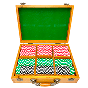 300ct Oak Custom Poker Chips Set