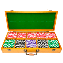 500ct Oak Custom Poker Chips Set